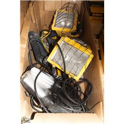 LARGE BOX OF CONSTRUCTION/PORTABLE LIGHTS.
