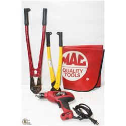 CABLE CUTTER, BOLT CUTTER, MAC TOOL , CORDED DRILL