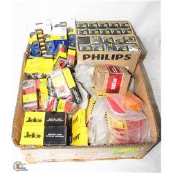 BOX OF LIGHT BULBS, BATTERY TERMINALS, LIGHT