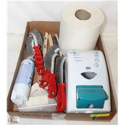 BOX WITH WIRE BRUSHES, HAND SOAP DISPENSER AND