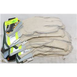 LOT W/ SUPERIOR SIZE MEDIUM LEATHER WORK GLOVES