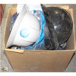 BOX OF ASSORTED HARD HATS