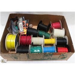 15 REELS OF WIRE #10 #14, WHITE GREEN RED YELLOW
