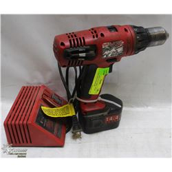 MILWAUKEE 14.4 V DRILL WITH BATTERY AND CHARGER
