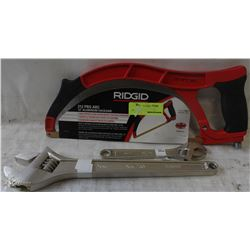 LOT WITH RIDGID ALUMINUM HACK SAW SOLD WITH