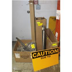 LOT W/ 3 BOXES OF ASSORTED CAUTION SIGNS, RADIATOR