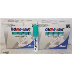 CASE OF 24 DURAINK BROAD TIP CHISEL MARKERS -GREEN