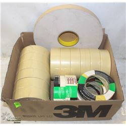"BOX OF ASSORTED MASKING TAPE & 1"" TWO SIDED TAPE"