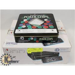 POKER CHIPS & DVD PLAYER.
