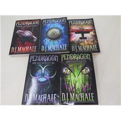 LOT OF 5 PENDRAGON BOOKS (THE MERCHANT OF DEATH, THE LOST CITY OF FARR, THE NEVER WAR, THE REALITY B