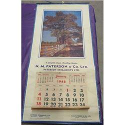 "PATERSON CALENDAR (1948) *15"" X 30.5""*"