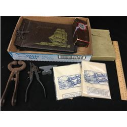 LOT OF MISC ITEMS (SAW TOOL, MINI ANVIL, EMPTY PHOTO BOOK)