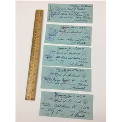LOT OF 5 BANK OF MONTREAL CHEQUES (1950'S)