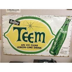 "TEEM SODA POP ADVERTISING SIGN (VINTAGE) *59.5"" x 35.5""*"