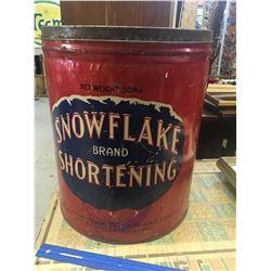 LARGE SNOWFLAKE BRAND SHORTENING TIN (RARE)