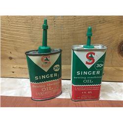 LOT OF 2 SINGER SEWING MACHINE HANDY OILERS (VINTAGE)