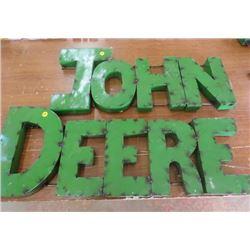 """JOHN DEERE SIGN (METAL) *JOHN 27"""" X 12.5"""" X 2""""* (DEERE 31.5"""" X 12"""" X 2"""")"""