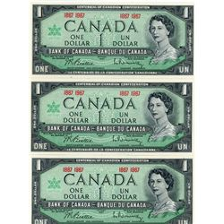 LOT OF 3 DOLLAR NOTES (CANADIAN) *CENTENNIAL* (1867-1967)