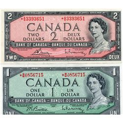 LOT OF 2 REPLACEMENT BILLS (CANADIAN) *1 X ONE DOLLAR* (1 X 2 DOLLAR) *1954*