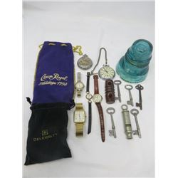 LOT OF MISC COLLECTIBLES ( 4 X WATCHES, 2 X POCKET WATCHES, 2 X INSULATORS, 5 X KEYS AND A WHISTLE)