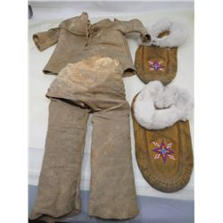 MOCCASINS WITH BABY MOOSE HIDE SHIRT AND PANTS (AUTHENTIC) *MOCCASINS NOT MOOSEHIDE*