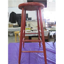 "WOODEN STOOL (RED) *30""X 12""*"