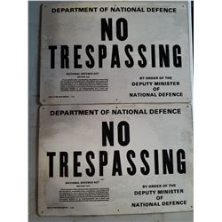 "LOT OF 2 METAL ""NO TRESPASSING"" SIGNS (DATED 1986-STILL IN ORIGINAL PLASTIC) *18"" X 28""* (NOS)"