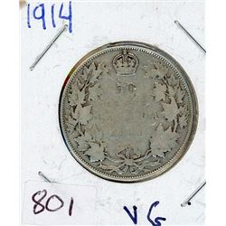 FIFTY CENT COIN (CANADIAN) *1914* (SILVER)