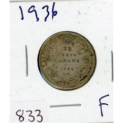 TWENTY FIVE CENT COIN (CANADIAN) *1936* (SILVER)