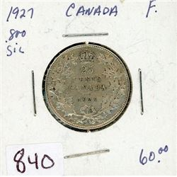 TWENTY FIVE CENT COIN (CANADIAN) *1927* (SILVER)