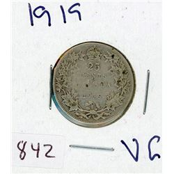 TWENTY FIVE CENT COIN (CANADIAN) *1919* (SILVER)