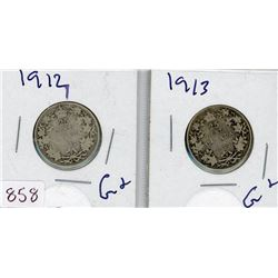 LOT OF 2-TWENTY FIVE CENT COINS (CANADIAN) *1912 & 1913* (SILVER)