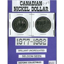 LOT OF 2 DOLLAR COINS (CANADIAN) *1977 & 1982*