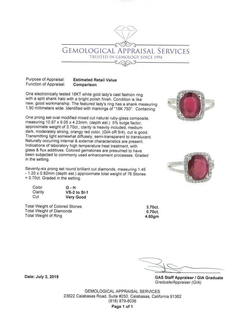 4 40 ctw Ruby and Diamond Ring - 18KT White Gold
