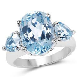 9.10 Carat Genuine Blue Topaz .925 Sterling Silver Ring (size 7)