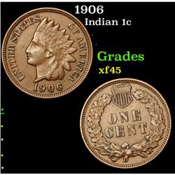 1906 Indian Cent 1c Grades xf+