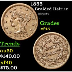 1855 Braided Hair Large Cent 1c Grades xf+