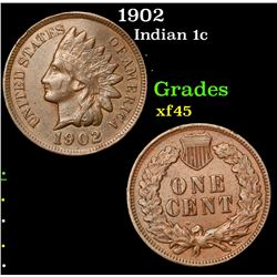 1902 Indian Cent 1c Grades xf+