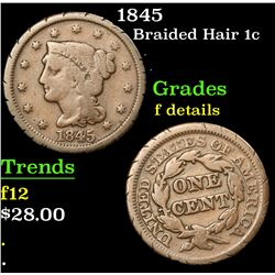 1845 Braided Hair Large Cent 1c Grades f details