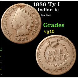 1886 Ty I Indian Cent 1c Grades vg+