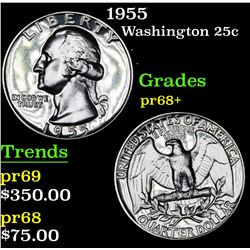1955 Washington Quarter 25c Grades GEM++ Proof