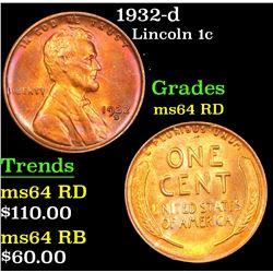1932-d Lincoln Cent 1c Grades Choice Unc RD