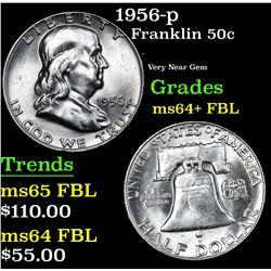 1956-p Franklin Half Dollar 50c Grades Choice Unc+ FBL