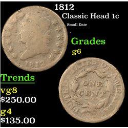 1812 Classic Head Large Cent 1c Grades g+