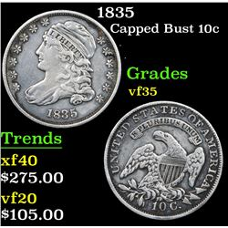1835 Capped Bust Dime 10c Grades vf++