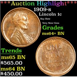 ***Auction Highlight*** 1909-s Lincoln Cent 1c Graded Choice+ Unc BN By USCG (fc)
