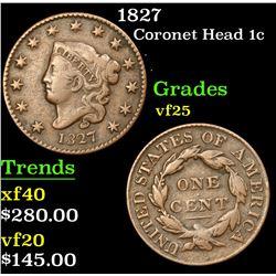 1827 Coronet Head Large Cent 1c Grades vf+