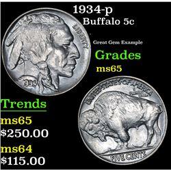 1934-p Buffalo Nickel 5c Grades GEM Unc