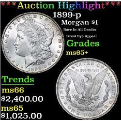 ***Auction Highlight*** 1899-p Morgan Dollar $1 Graded GEM+ Unc By USCG (fc)