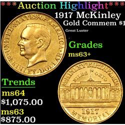 ***Auction Highlight*** 1917 McKinley Gold Commem Dollar 1 Graded Select+ Unc By USCG (fc)